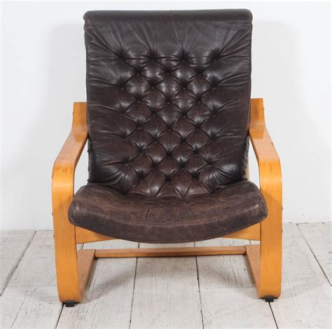 ikea black leather chair pair of original poem chairs in tufted black leather by