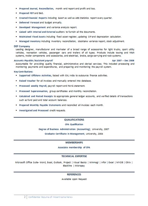 Resume Exles Australia It Accounting Sle Resumes Australia Power Resume Writing
