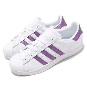 adidas originals superstar  white purple women casual shoes sneakers ee ebay