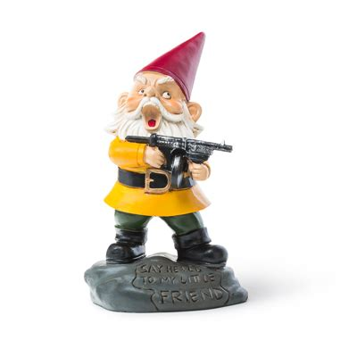 garden gnomes with guns angry little garden gnome with machine gun the gnominator