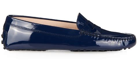 navy patent loafers tod s gommino patent leather loafers in blue navy lyst