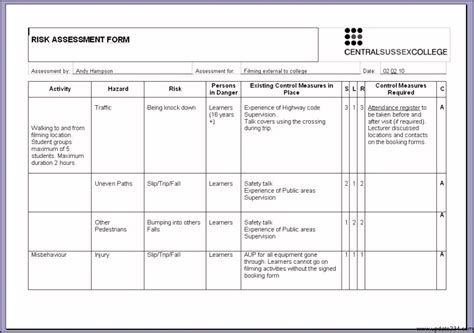 risk assessment tool template risk assessment template exles template update234