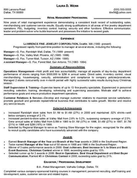 managerial resume sle sle resume for retail store manager 28 images sle