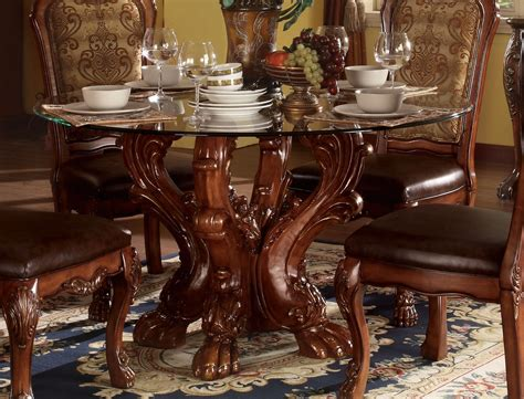 dresden formal carved wood   glass top dining