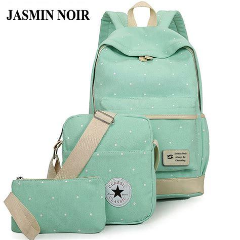 Backpack 3 Student Book fresh canvas backpack big student book bag with purse laptop 3pcs set bag high