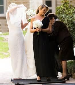 sarah harris looks ethereal in johanna johnson wedding dress as bridesmaids wear black daily