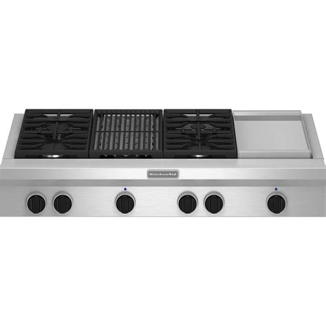Cooktop With Grill And Griddle kitchenaid kgcu484vss pro style 174 48 quot gas cooktop plus