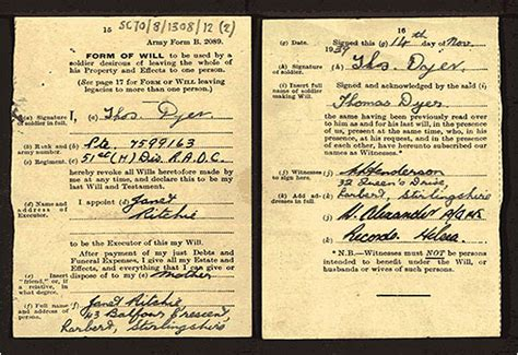 Are Wills Records Exles Of Soldiers Wills National Records Of Scotland