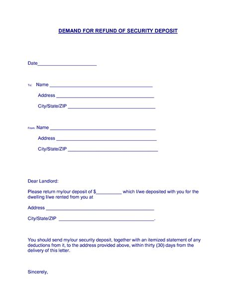 Demand Letter For Security Deposit best photos of letter security deposit form landlord