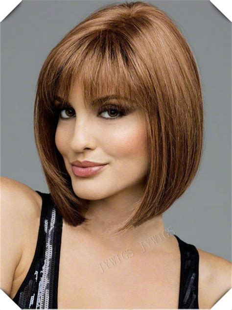 bob haircuts with center part bangs middle part bob wig synthetic women s bob perucas lady