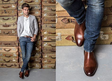 mens boots to wear with chelsea boot in brown antique italian leather