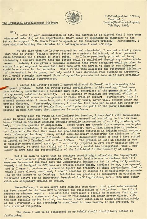 Letter Of Support For Immigration Uk support for enoch powell the national archives