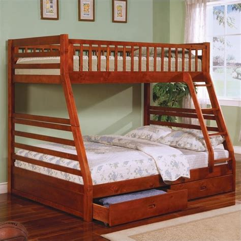 Coaster Ogletown Twin Over Full Bunk Bed In Oak Finish Coaster Bunk Beds