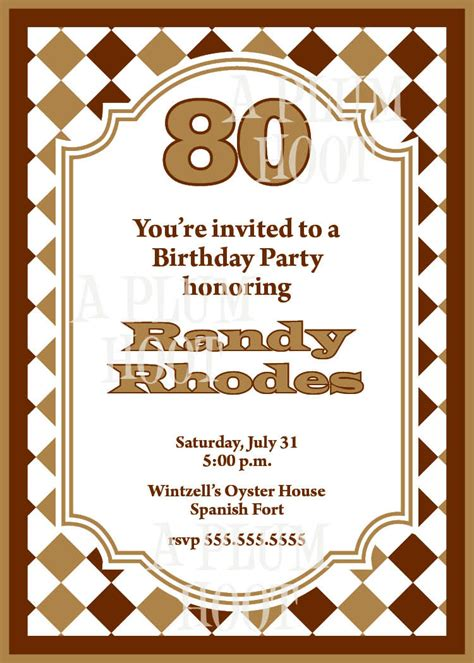 sle invitations for 80th birthday traditional 80th birthday invitation diy printable 5x7