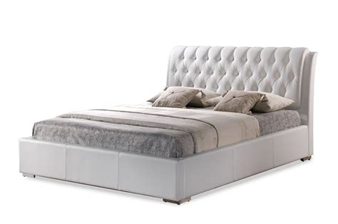 white modern bed with tufted headboard king size