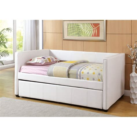 White Trundle Daybed Furniture Of America Barton Platform Daybed With Trundle In White Idf 1955wh