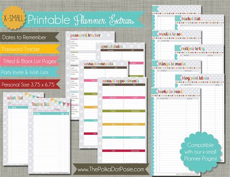 printable planner pages personal the polka dot posie new x small personal size planner