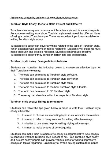 Style Essay by Calam 233 O Turabian Style Essay Ideas To Make It Great And Effective