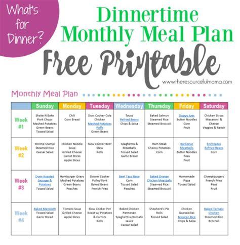 monthly meal plan dinner printable printable
