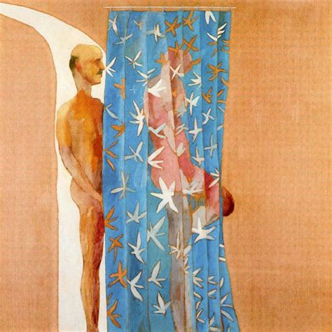 painting of dead man in bathtub man in shower in beverly hills 1964 by david hockney acrylic on canvas 65 1 2 x 65 1 2 in