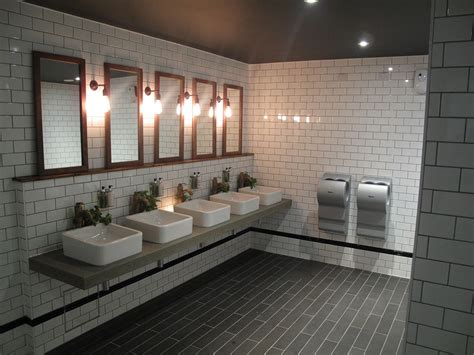 commercial bathroom design cool industrial toilet design with stylish subway tiles