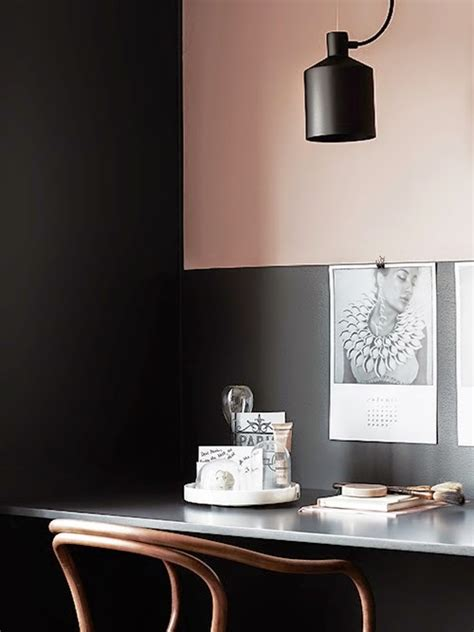 blush pink desk l painted office accent wall design ideas
