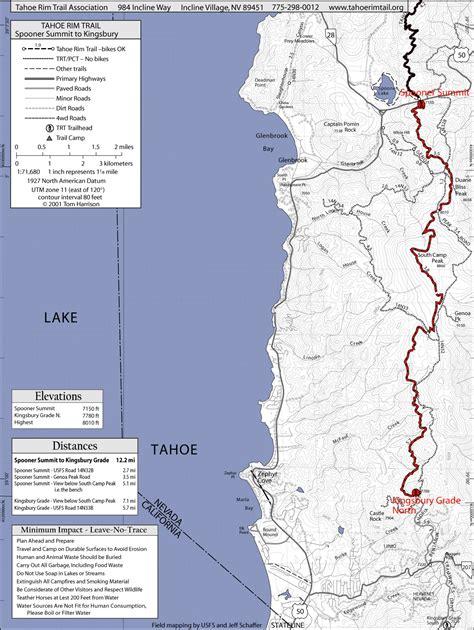 california map lake tahoe tahoe trail spooner summit to kingsbury lake