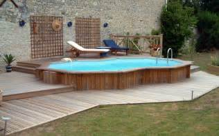Backyard Above Ground Pool Semi Inground Pool With Decking Kits Studio Design Gallery Best Design