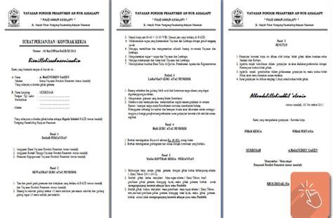 contoh surat perjanjian kontrak kerja guru paud file pendidikan