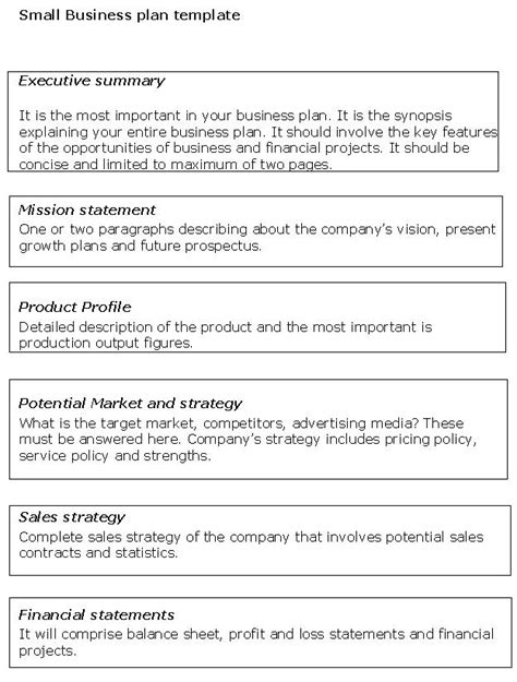 small business plan template sle business templates