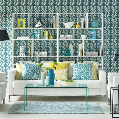 Teal Wallpaper For Living Room by 20 Sumptomous Living Room Wallpaper Designs Rilane