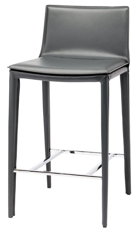 Grey Leather Bar Stool Palma Grey Leather Counter Stool Hgnd110 Nuevo