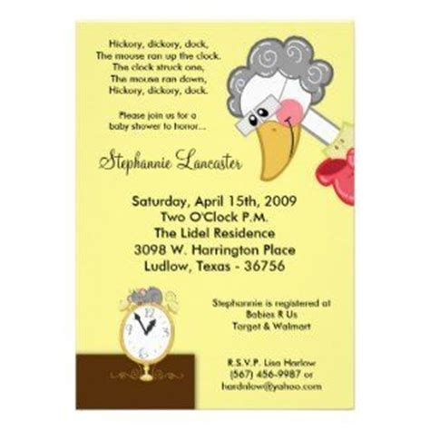 Baby Shower Invite Rhymes by Hickory Dickory Goose Nursery Rhyme Baby Shower