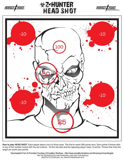 printable headshot targets excalibur brothers sword knife blog