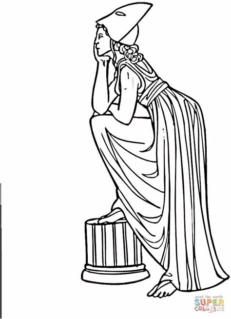 Greek Ancient Woman Coloring Page Free Printable Ancient Greece Colouring Pages