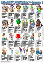 relative clauses esl printable worksheets and exercises