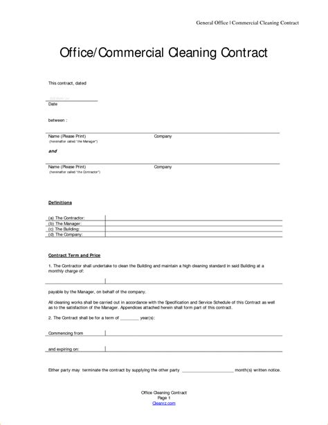 commercial cleaning contract templates office cleaning contract template gallery
