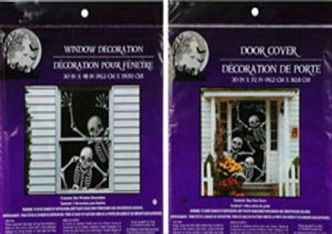 house window cover bundle 1 happy waving skeleton door cover and 1 smiling skeleton window cover scary