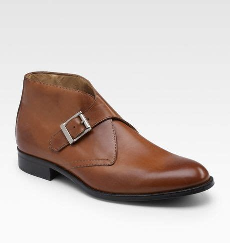 mens monk boots saks fifth avenue monk ankle boots in brown for