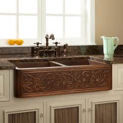 Copper Farm Sinks For Kitchens 36 Quot Vine Design Bowl Copper Farmhouse Sink Kitchen