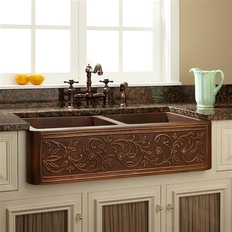 Copper Farmhouse Kitchen Sinks 36 Quot Vine Design Bowl Copper Farmhouse Sink Kitchen