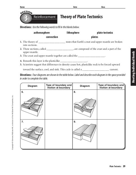Plate Tectonic Worksheet by Theory Of Plate Tectonics Worksheet Worksheets