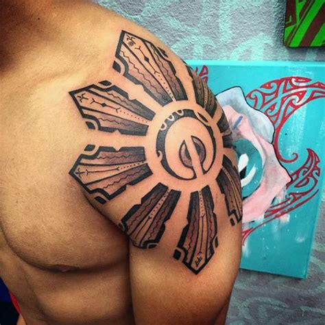 shoulder cap tattoos for men best 25 tribal sun tattoos ideas on tribal