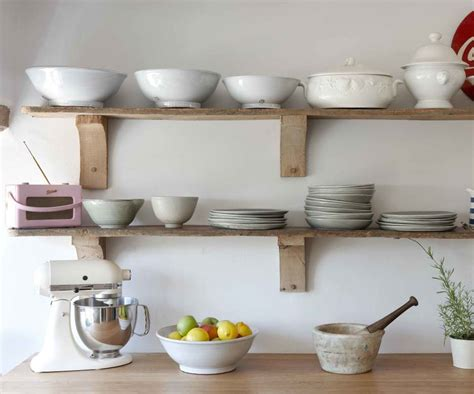 Decorating Ideas For Shelves In Kitchen Simple Rustic Unstained Wooden Wall Shelf Design Ideas For