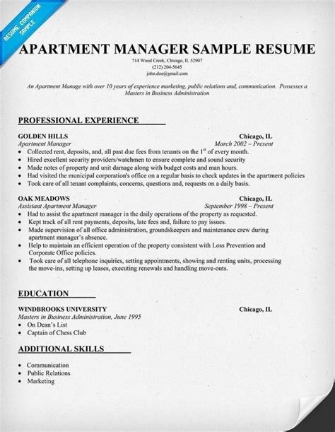 Resume Sles For Property Manager Assistants Assistant Property Manager Resume Template Resume Builder