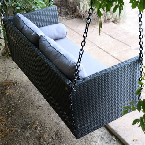 Wicker swing chair with stand into the glass great and fun idea black porch swing