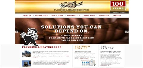 Plumbing And Heating Websites by 5 Plumbing Websites That Put A Shine On The Grime