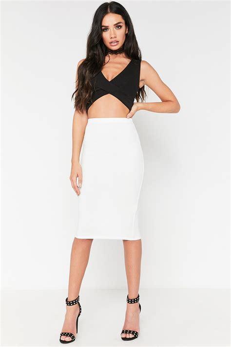 white bodycon midi skirt