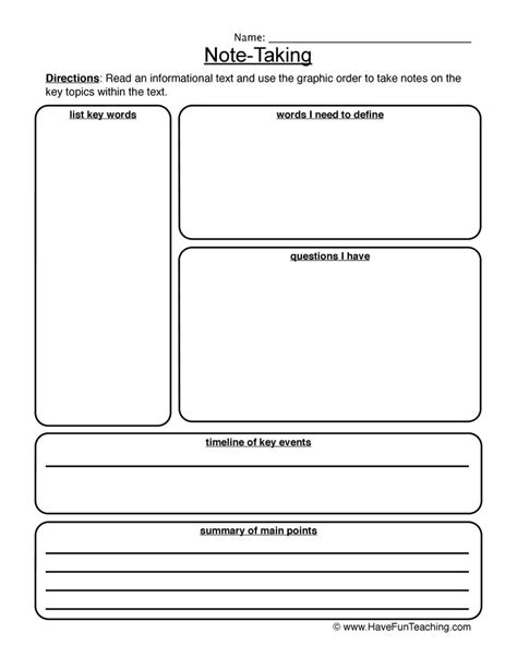Note Taking Worksheets Have Fun Teaching Low Inference Notes Template