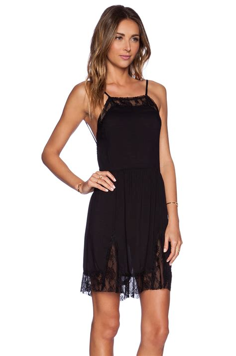 free people lace swing dress free people lace insert swing slip dress in black lyst